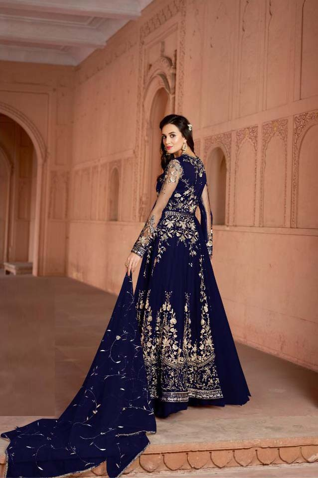 Exotic Party Wear Embroidery Blue Color Suit