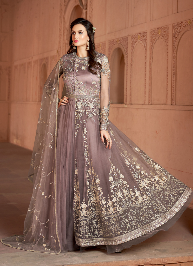 Mesmeric  Party Wear Light Peach Color Butterfly net with Heavy Embroidery  Suit