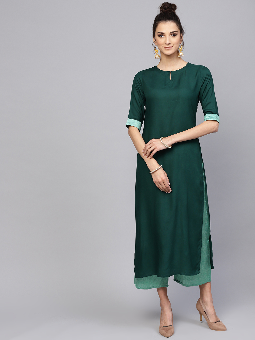 Women's Latest Designer Green Rayon Kurtis With Palazzo