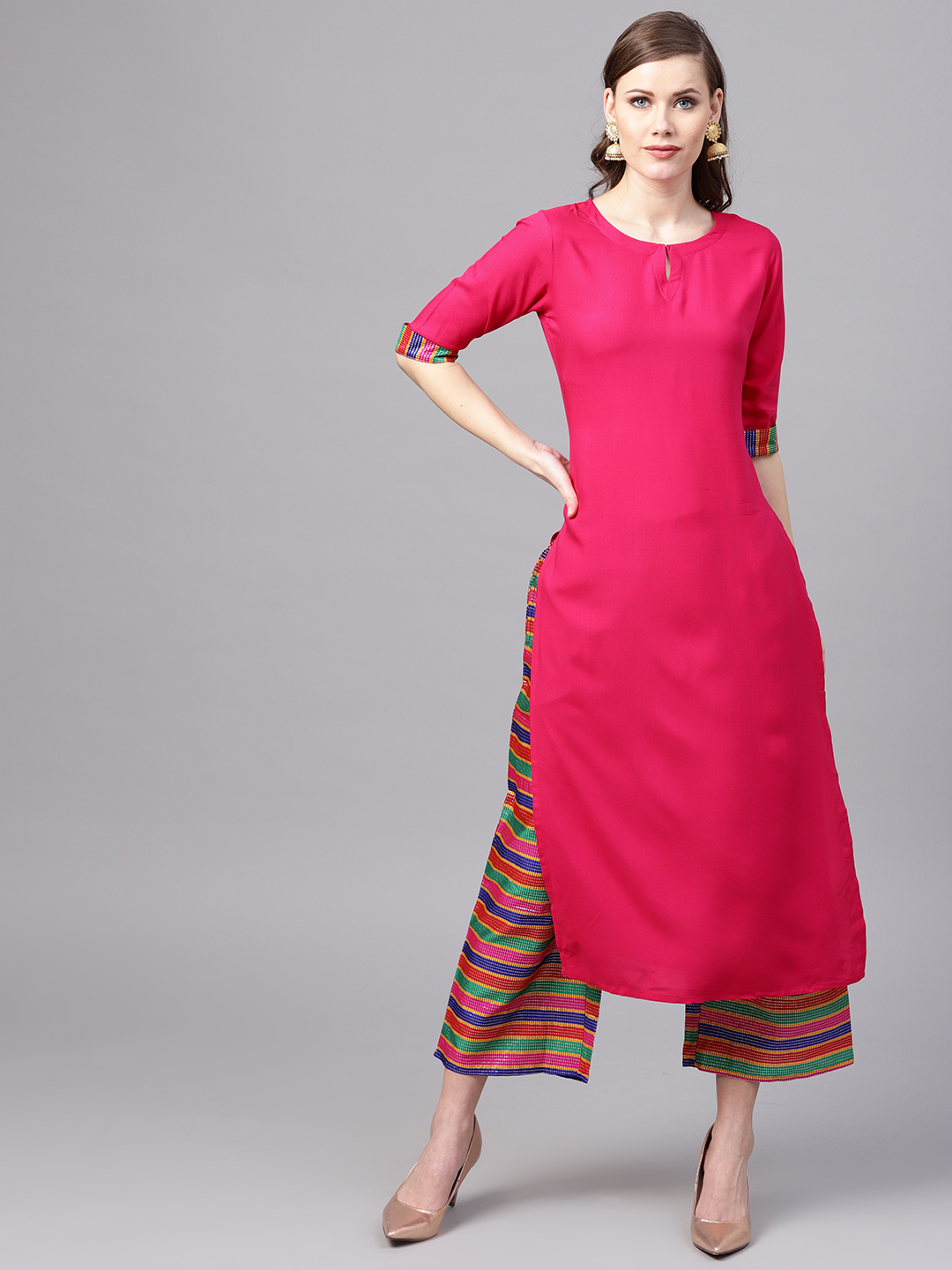 Designer Casual Wear Rayon Pink Kurtis With Plazzo