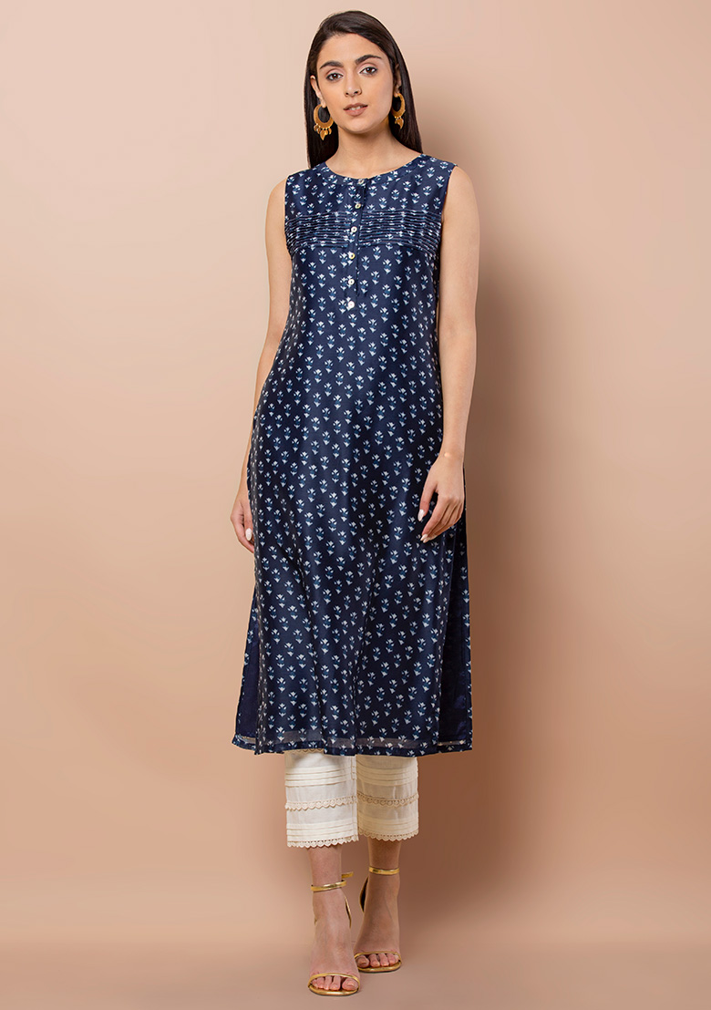 Women's New Stylish Designer Blue Rayon Kurtis With Palazzo