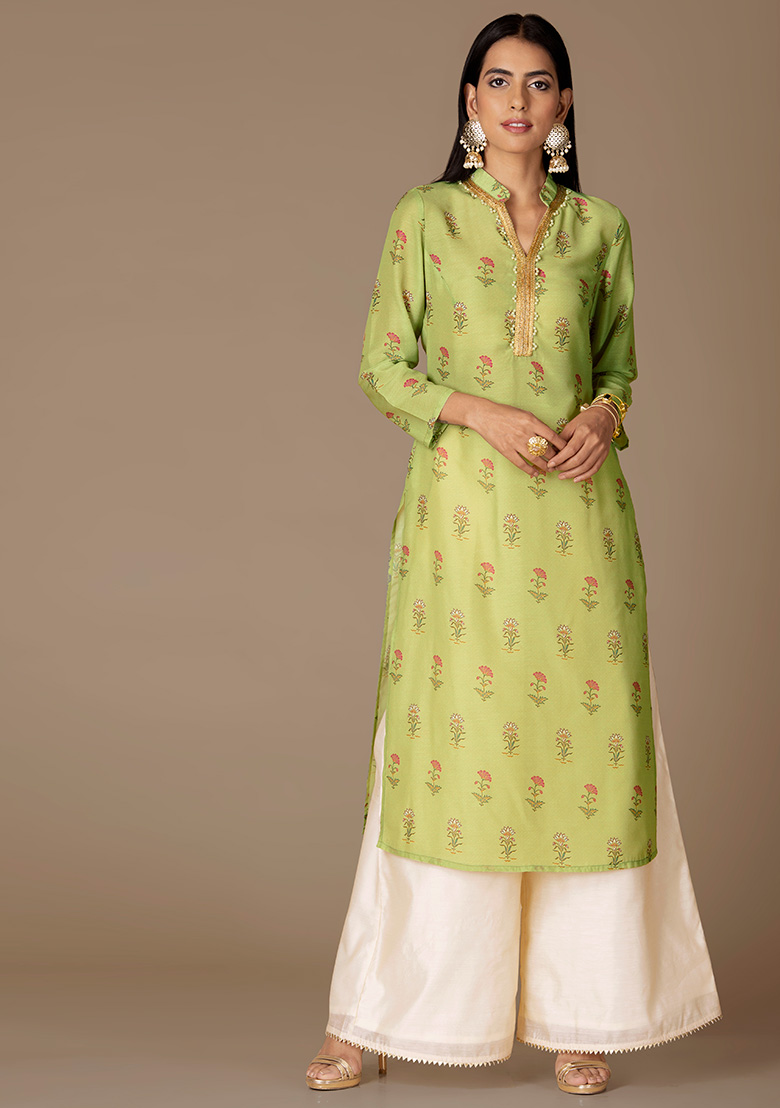 :Women's New Stylish Designer Perot Green Rayon Kurtis With Palazzo
