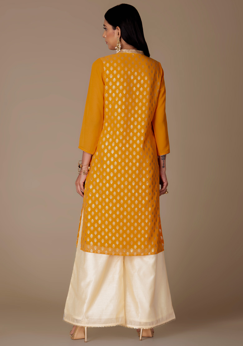 Women's New Stylish Designer Yellow Rayon Kurtis With Palazzo