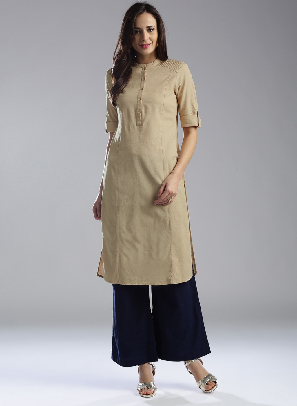 Women's New Stylish Designer Beige Rayon Kurtis With Plazzo