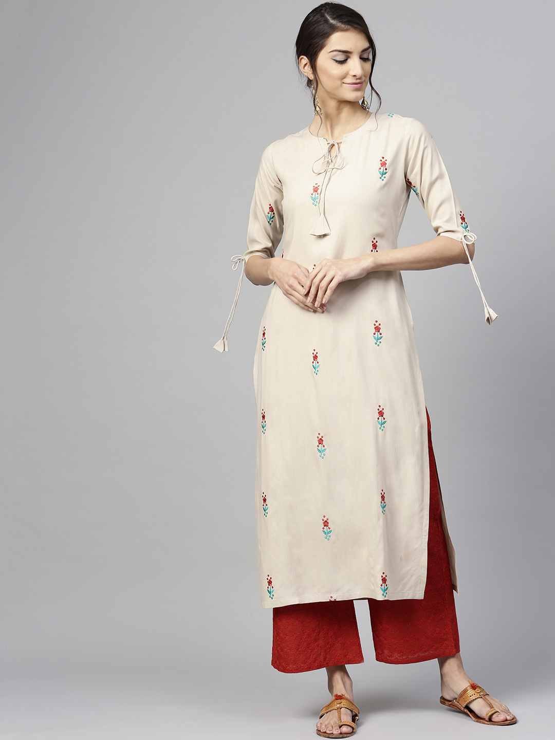 Women's New Stylish Designer Cream Rayon Kurtis With Plazzo