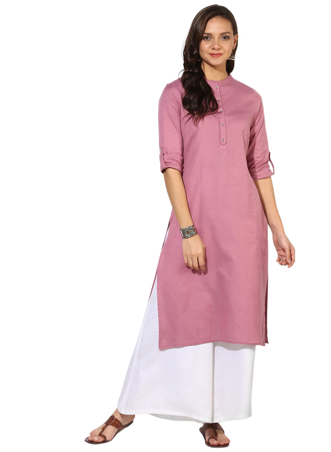 Women's New Stylish Designer Baby Pink Rayon Kurtis With Plazzo
