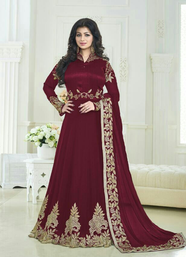 Ayesha Takia Designer Beautiful Maroon Long Anarkali Suit
