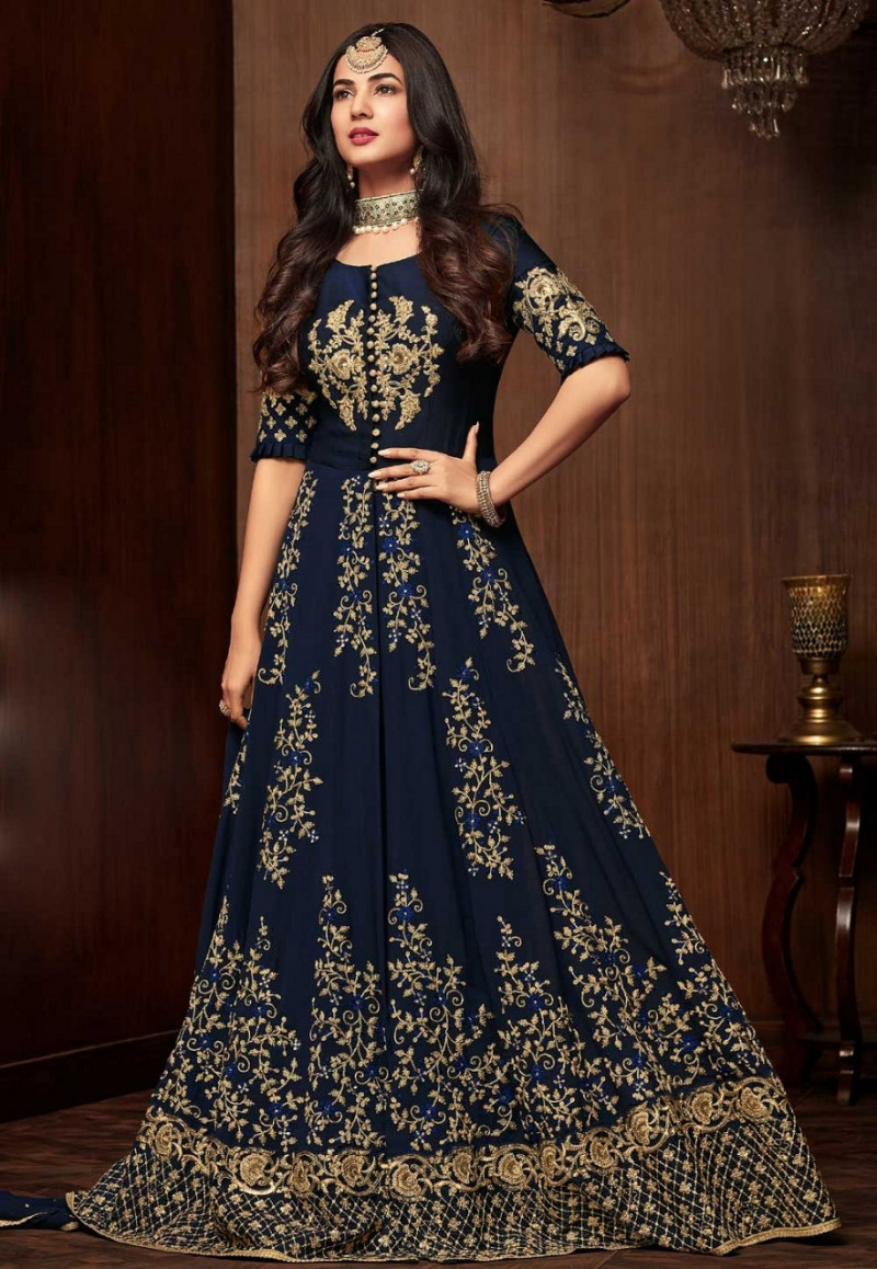 Beautiful  Design Neavy Blue Color Embroidered Suit