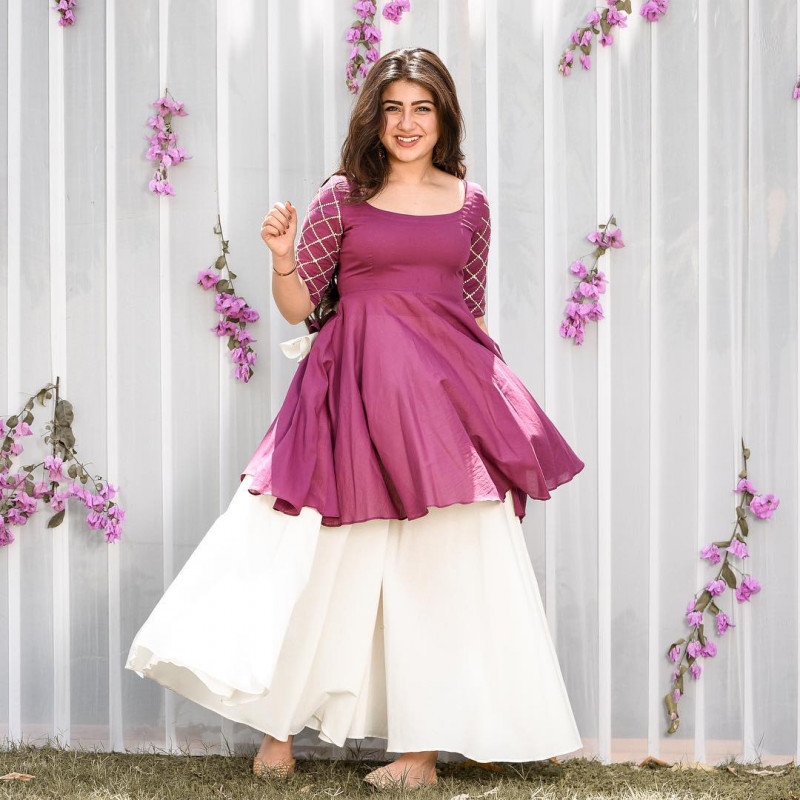 Aditi Bhatia Graceful  Pink Color Crap Silk Top With White Color Plazzo