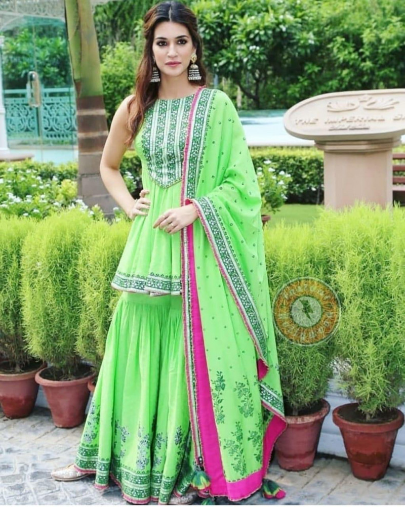Mesmeric Light Green Color  Party Wear Sharara Suit