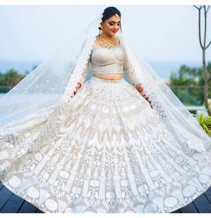 Delightful White Color Georgette Embroidery Wedding Lehenga Choli
