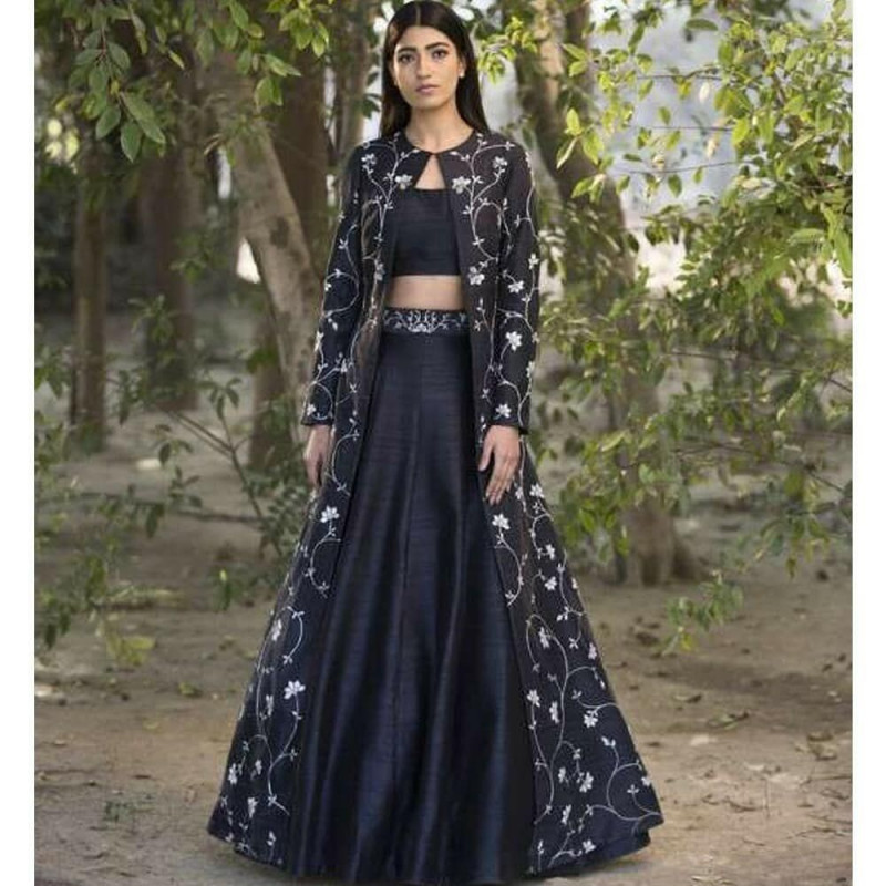 Flamboyant Party Wear Cancan Net Navy Blue Color Designer Indowestern