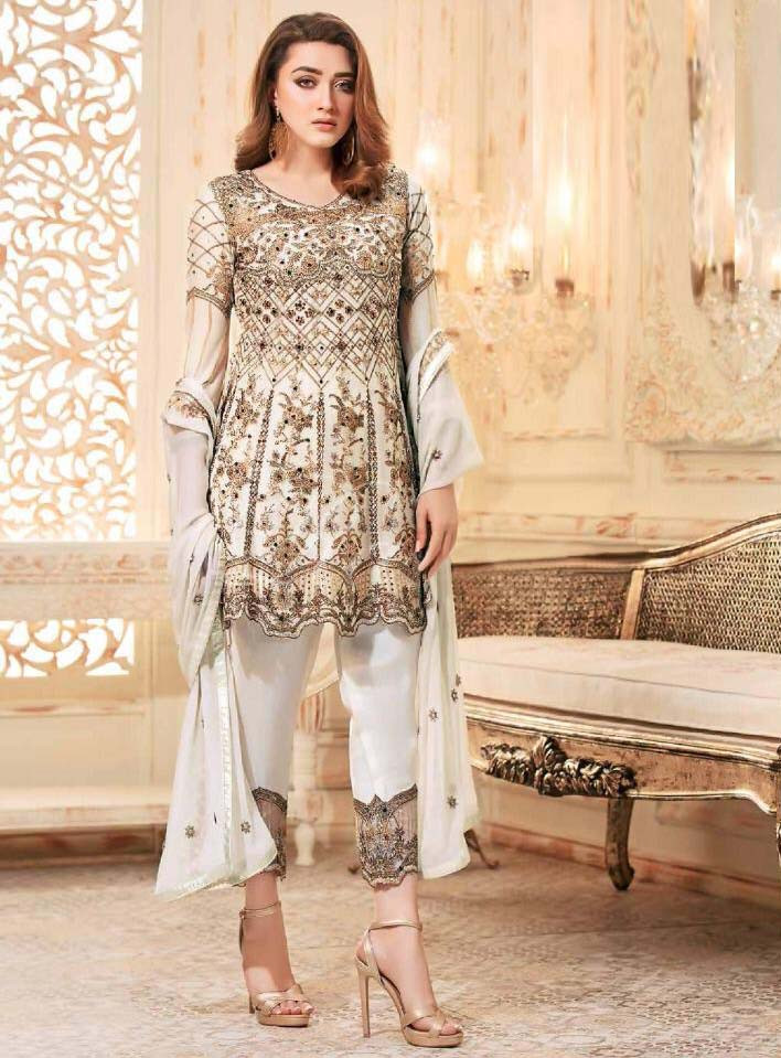 Pleasant White Color Heavy Net Pary Wear Suit