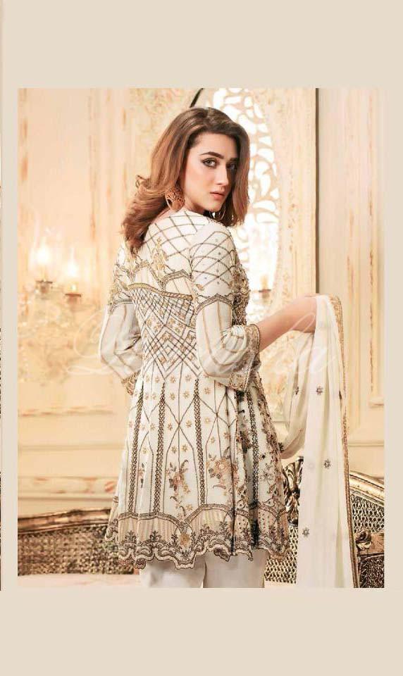 Pleasant White Color Heavy Net Pary Wear Suit