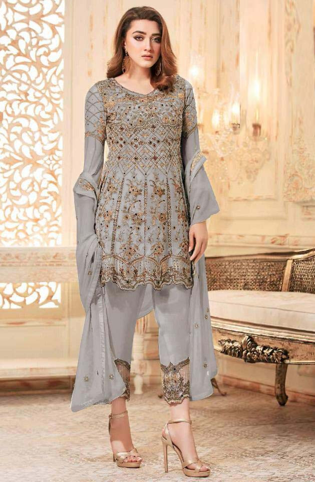 Opulent  Pary Wear Grey Color Embroidered Suit