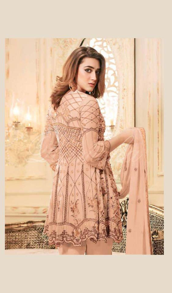 Prominent Peach Color Embroidered  Festival Suit