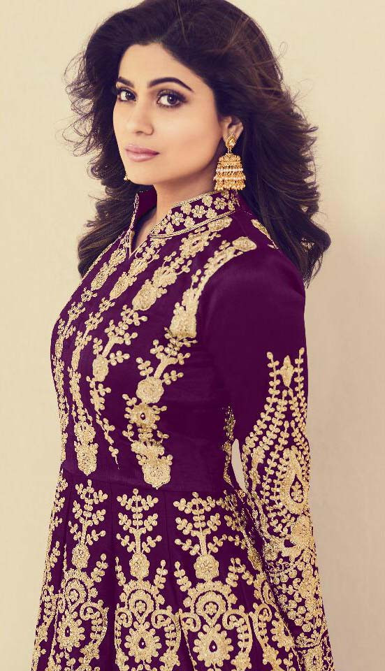 Shamita Shetty Purple  Color Codding Embroidery Party Wear Suit