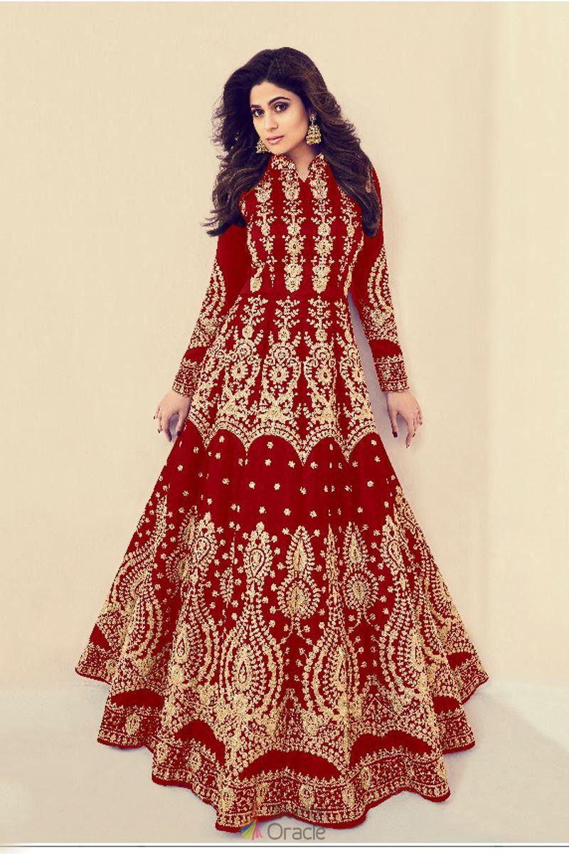 Shamita Shetty  Embroidery Party Wear Red  Color Codding Suit
