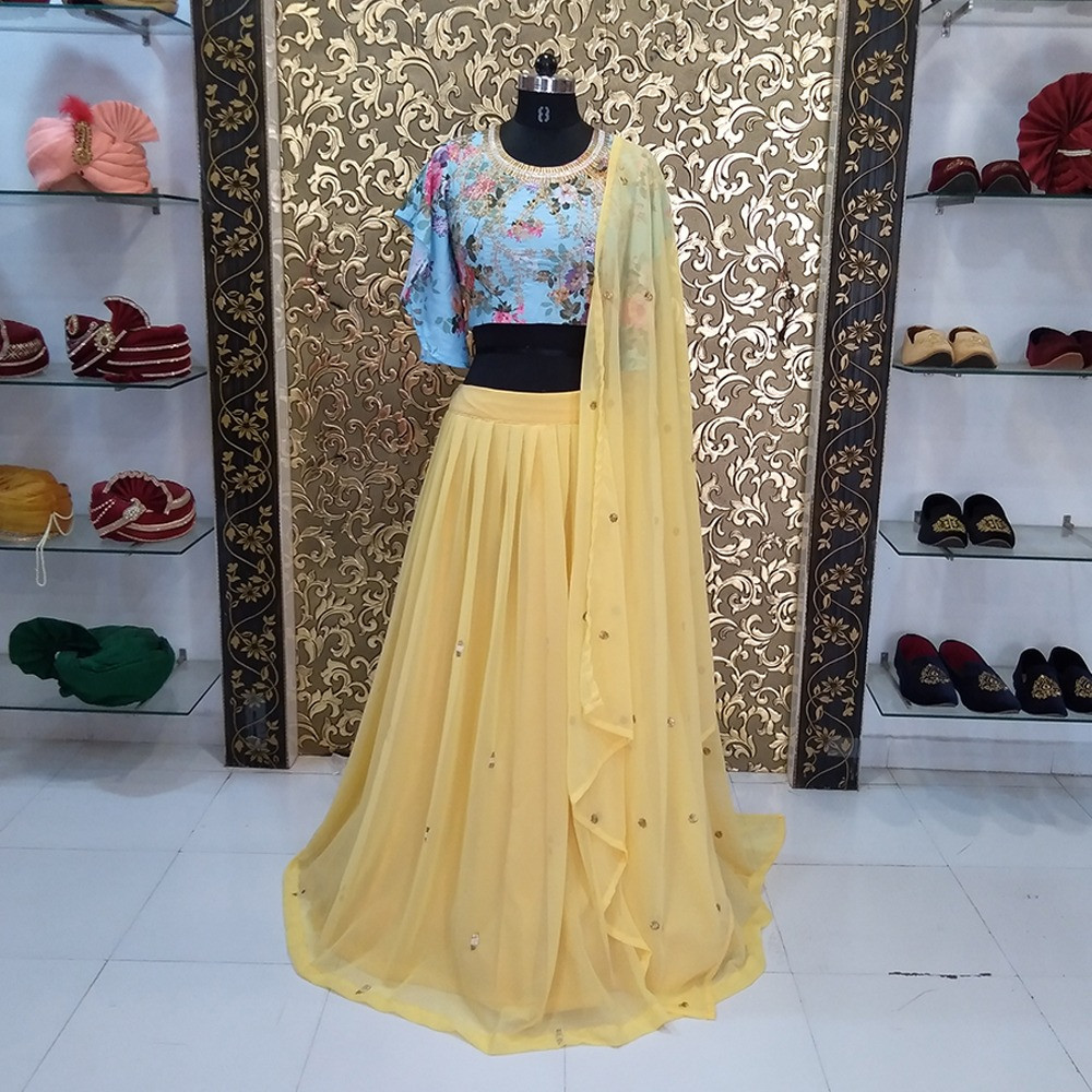 Designer Stylish Georgette Embroidery Yellow Colored Lehenga Choli