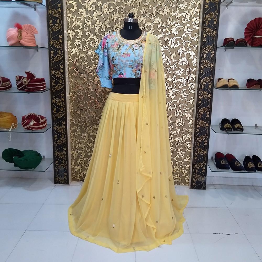 Designer Georgette Embroidery Yellow haldi special Lehenga Choli