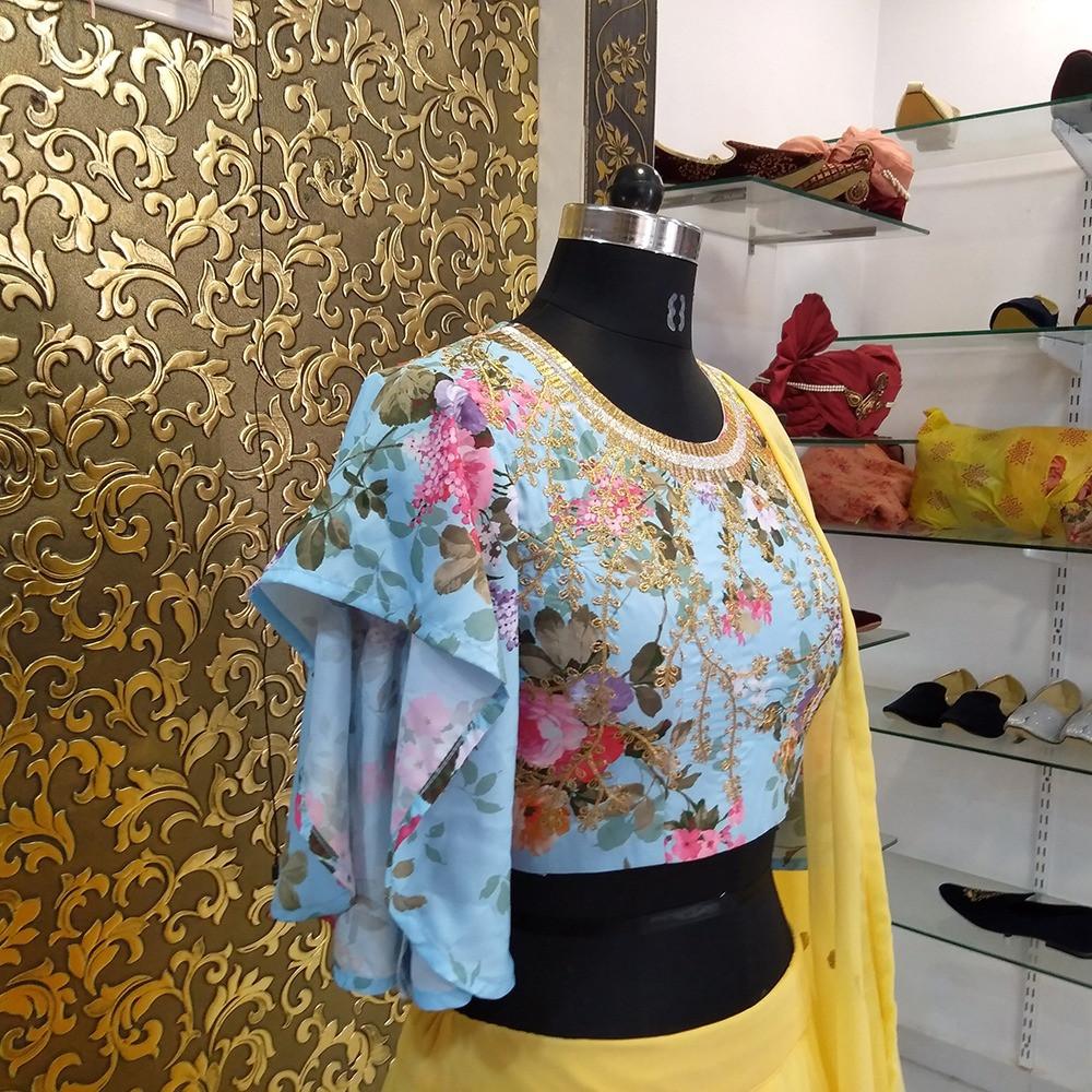 Beautiful Stylish Georgette Yellow Embroidery Lehenga Choli