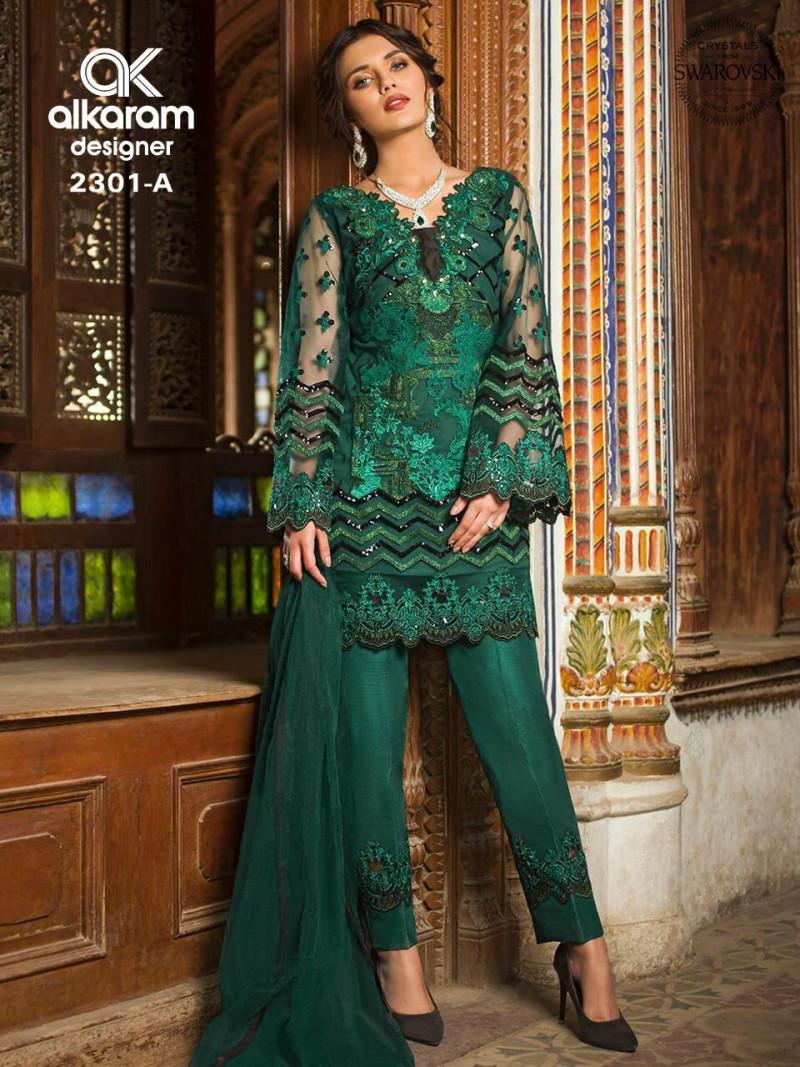 Marvellous Party Wear Butterfly Net Green Color Suit