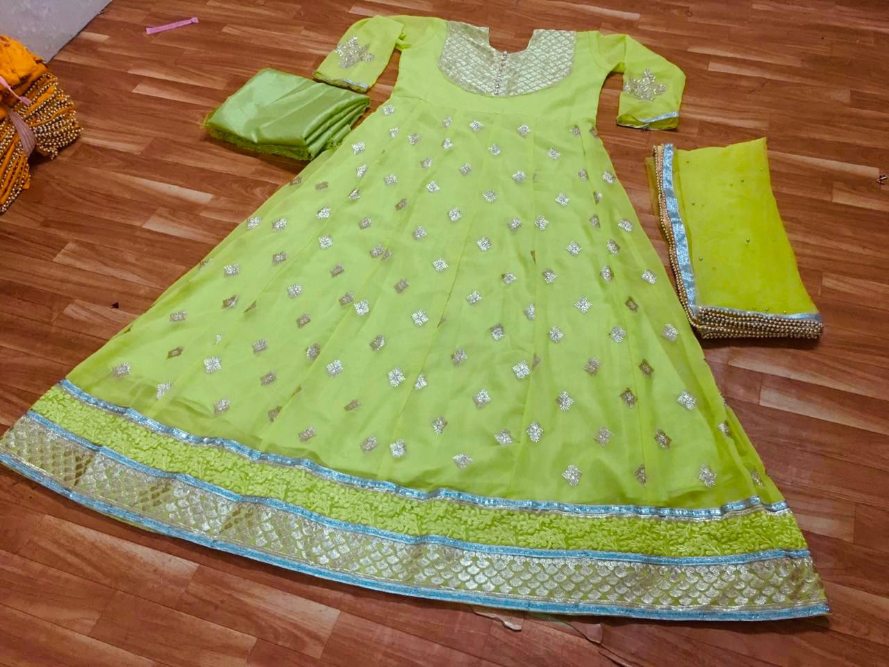 Trending Lime Green Georgette Party Wear Suit