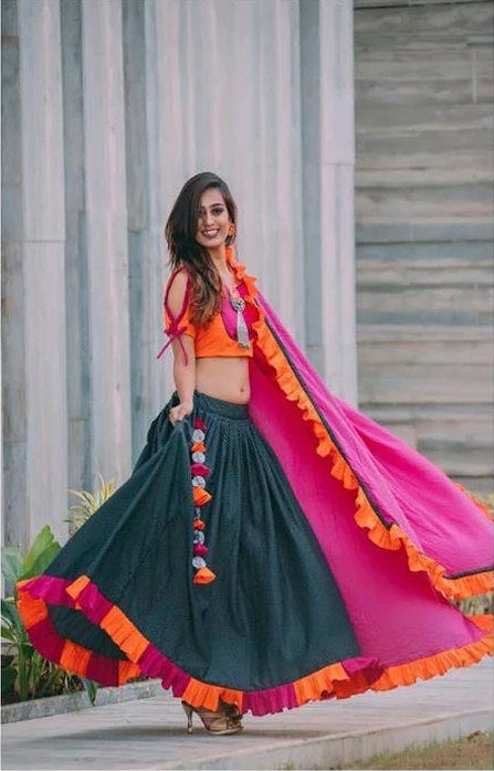 Beautiful Peacock Blue & Rani Cotton Ruffle Lehenga Choli