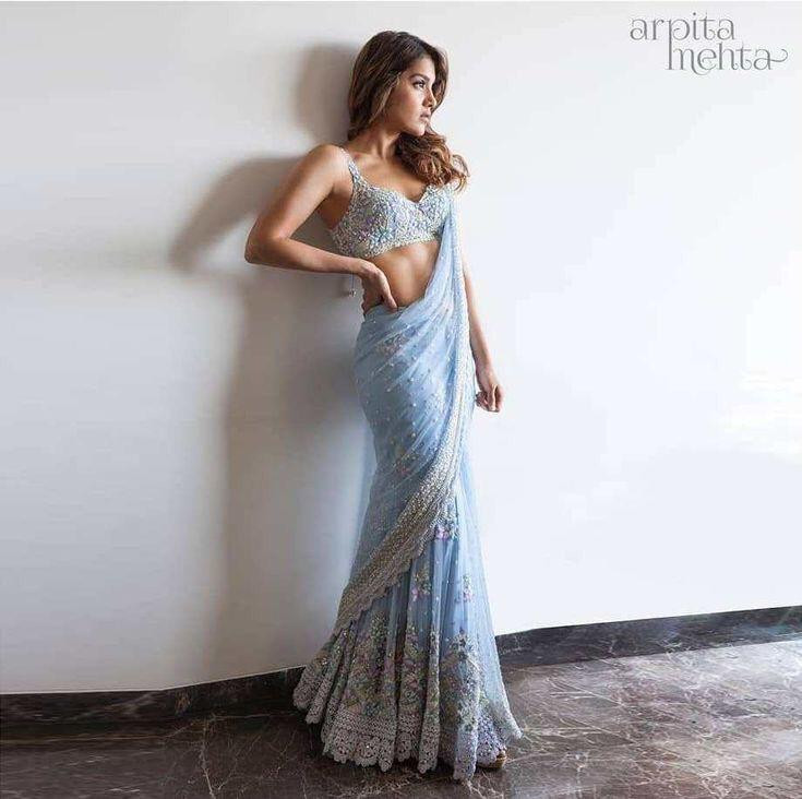 Graceful Sky Blue Color Georgette With Diamond Hand Work Saree