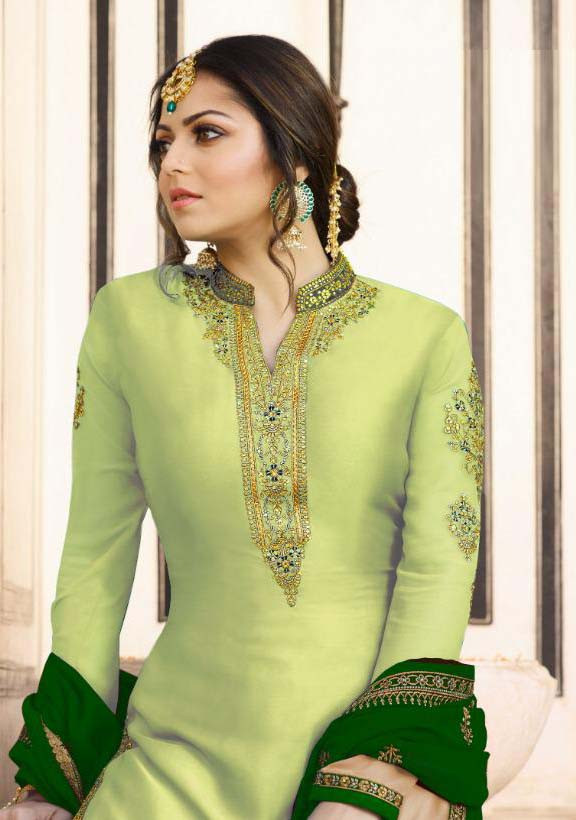 Designer Drashti Dhami Satin Georgette Lemon Green Sharara Suit