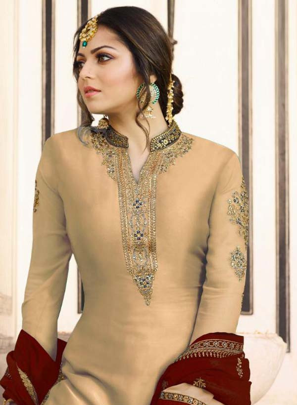 Designer Drashti Dhami Satin Georgette Beige And Red  Sharara Suit