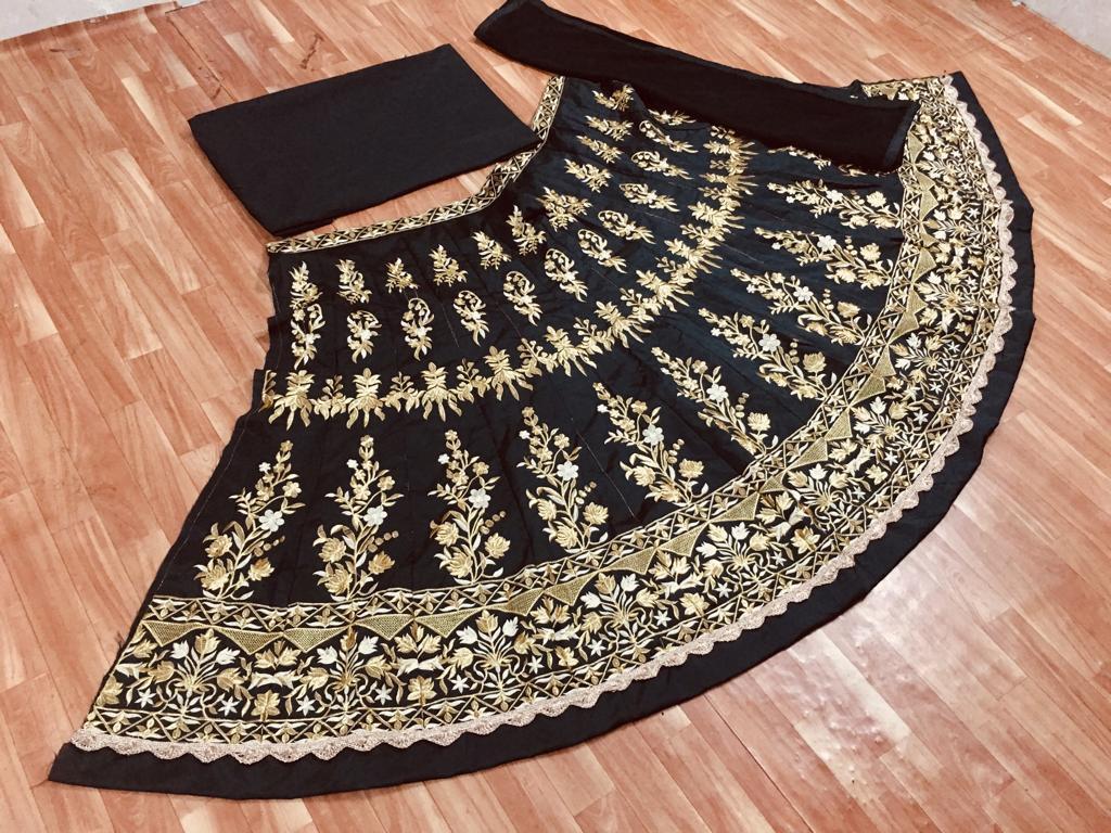 Katrina kaif Taffeta Silk Black Color Latest Bollywood  Lehenga Choli