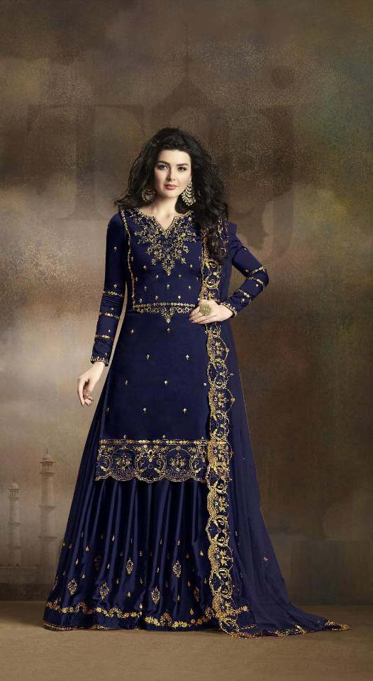 Graceful  Blue Color Georgette Party Wear Suit