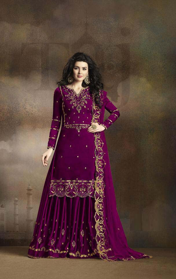 Delightful Party Wear Purple Color Georgette Suit