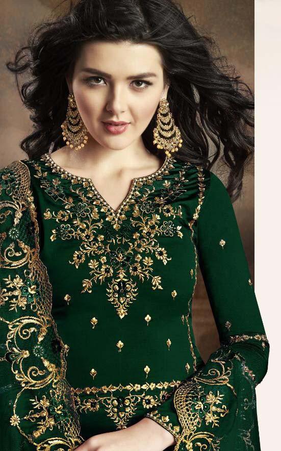 Mesmeric Party Wear Heavy Rangoli Georgette Green Color Suit
