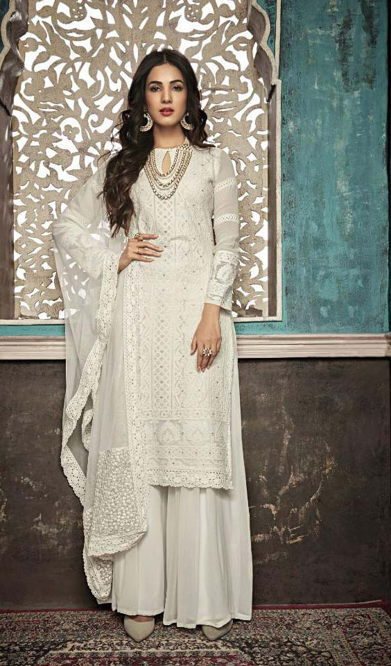 Excellent White Color Georgette With Embroidery Suit