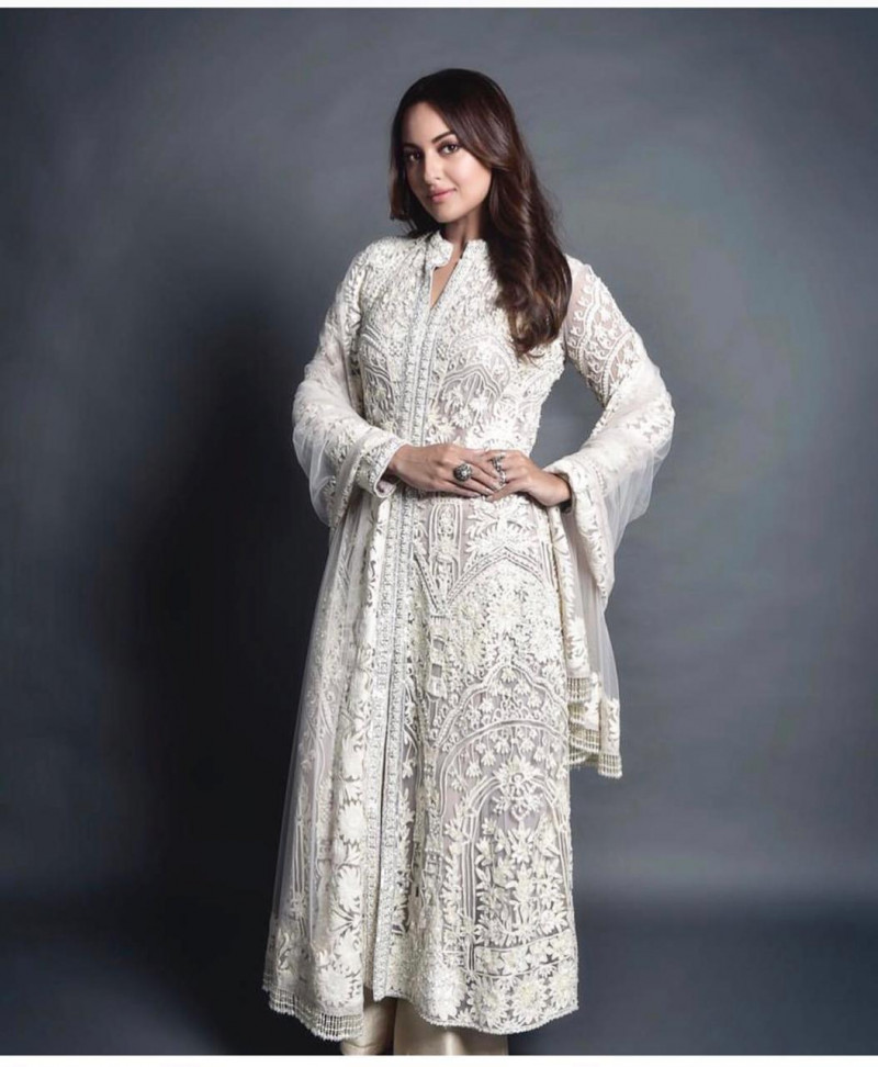 Sonakshi Sinha Elegantly Gorgeous white Party Wear Suit