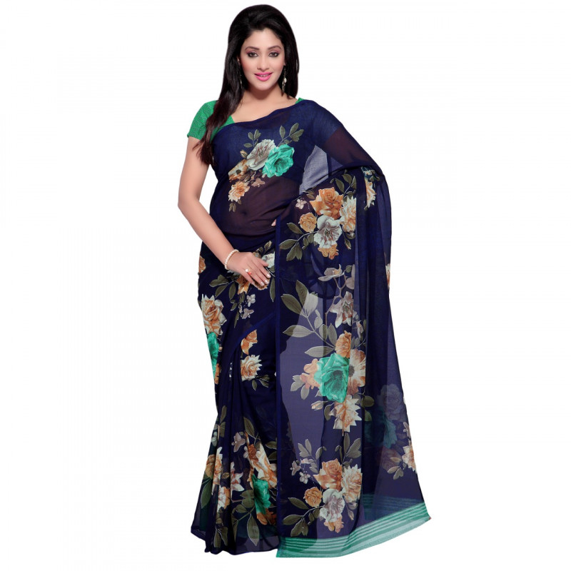 Faux Georgette Blue Color Flower Printed Saree With Blouse