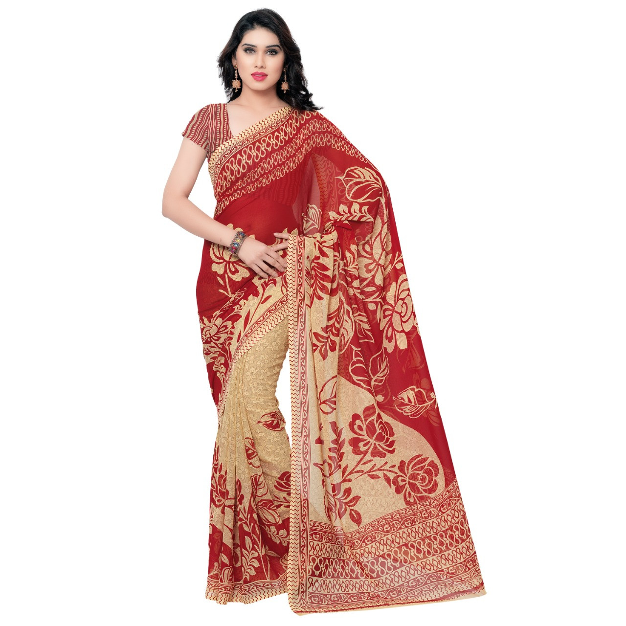 Beautiful Faux Georgette Brown&Cream Color Printed Saree With Blouse