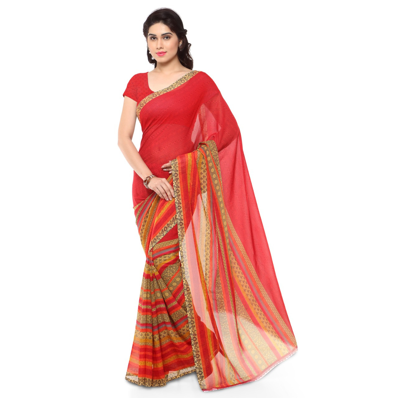 Lattest Faux Georgette Red Color Printed Saree With Blouse