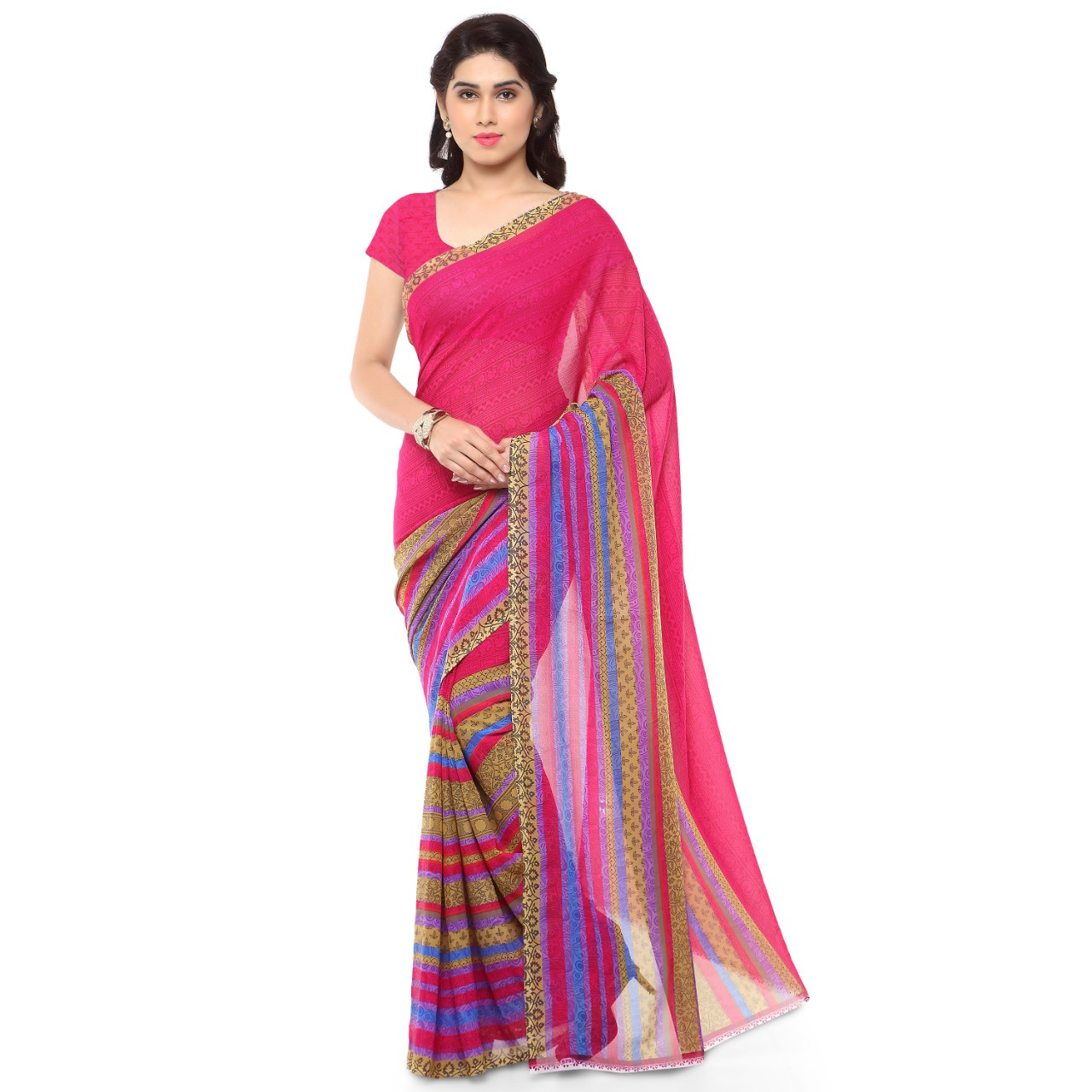 Latest Faux Georgette Red Color Printed Saree With Blouse