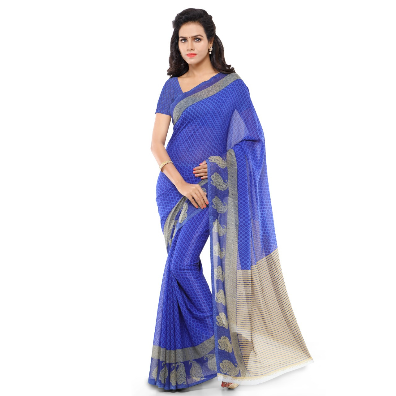 Beautiful Faux Georgette Printed Saree With Blouse