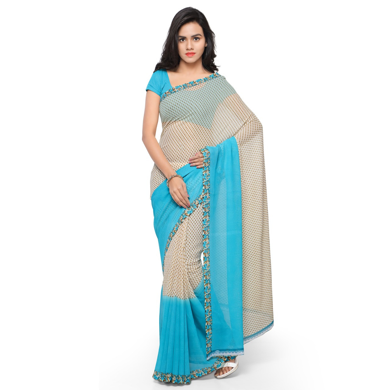 Attractive Faux Georgette Printed Saree With Blouse