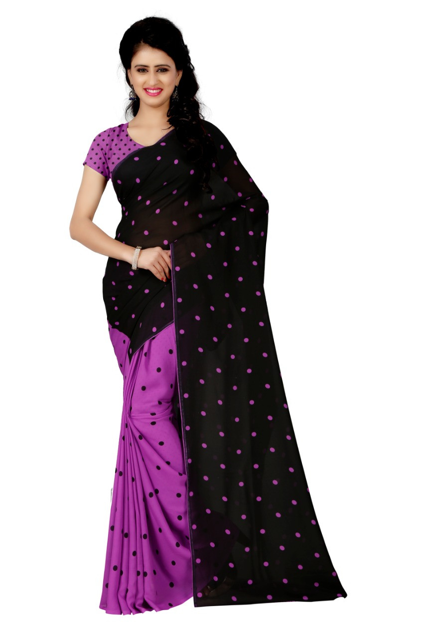 Purple&Black Faux Georgette Printed Saree With Blouse