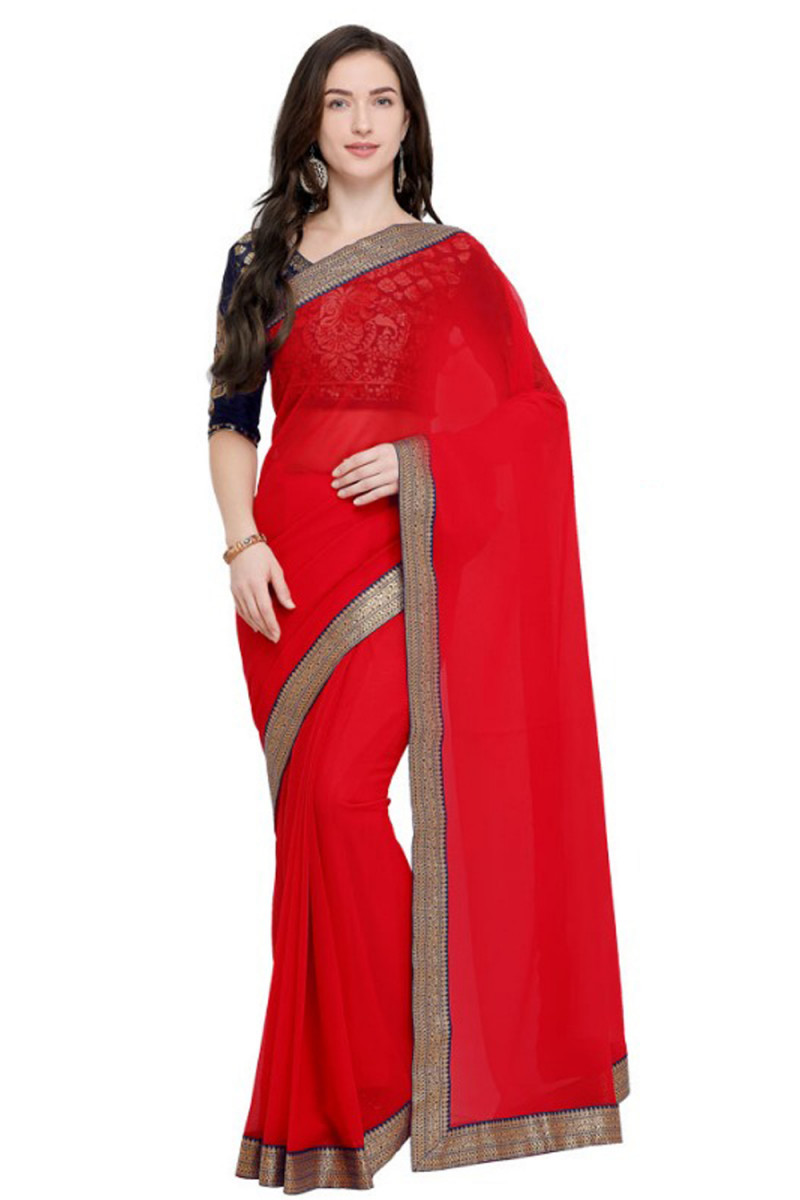 Fancy Georgette Red Color Printed Saree With Blouse