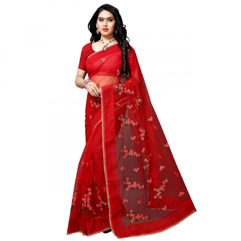 Designer Red Color Net Saree With Blouse