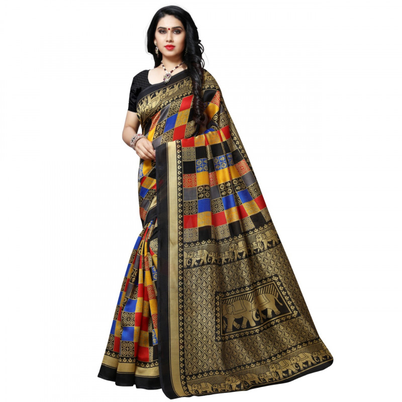 Litchi Fabric Black Printed Saree With Blouse