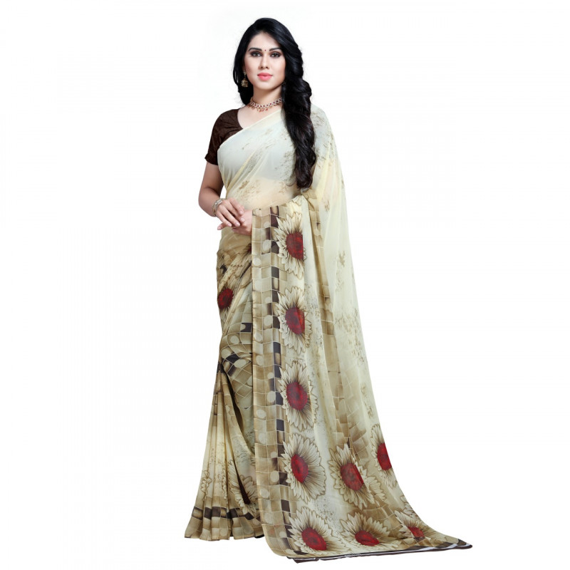 White Flower Coloured Faux Georgette Saree
