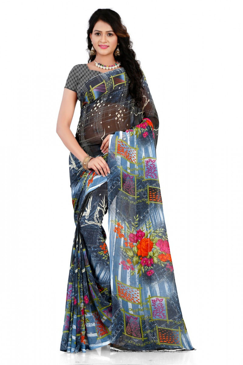 Faux Georgette Multi Color Printed Saree With Blouse