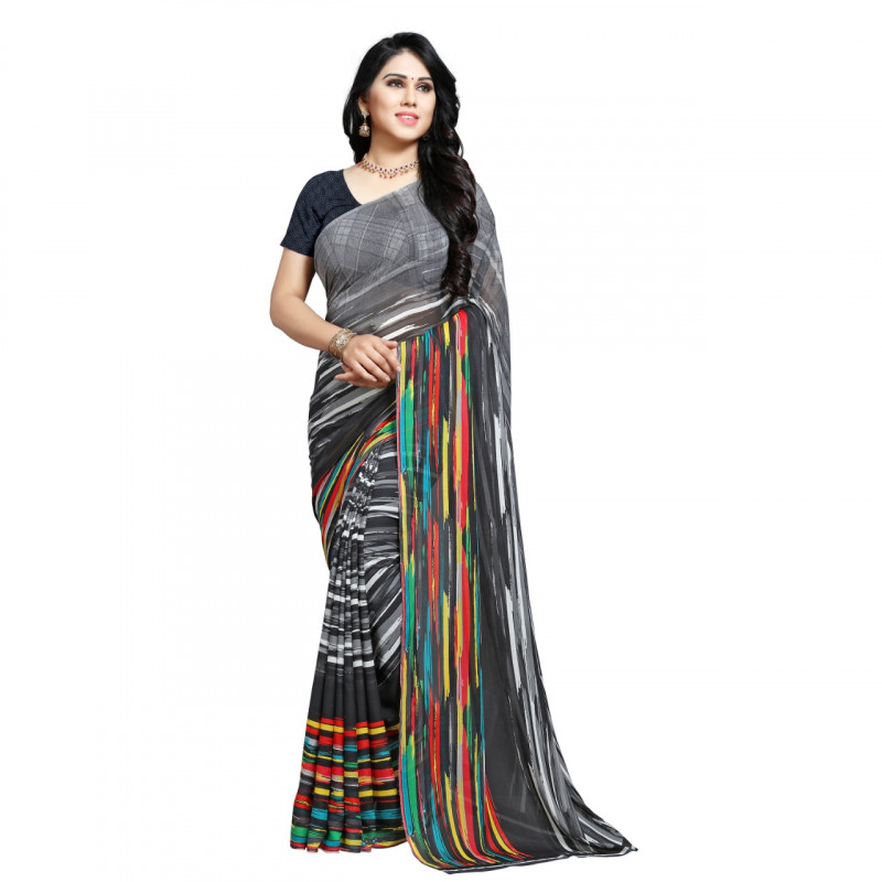 Grey  Coloured Faux Georgette Saree